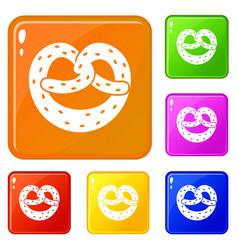 Pretzels icons set color vector