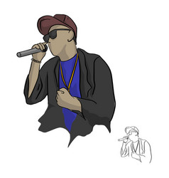 Rapper holding microphone sketch vector