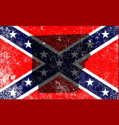 Rebel civil war flag with arkansas map vector