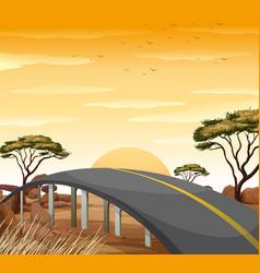 road in the savanna field vector image