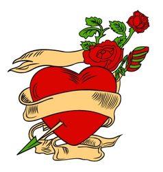Rose and heart emblem vector