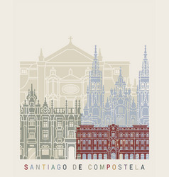 santiago de compostela skyline poster vector image
