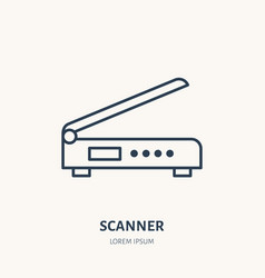 scanner flat line icon office scanning device vector image