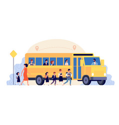 school bus pupils ride on yellow transport vector image