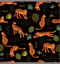 seamless exotic pattern with tigers and abstract vector image