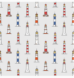 seamless pattern with lighthouses of various types vector image