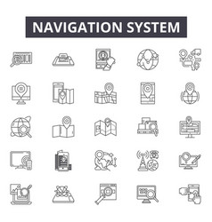 search detection navigation system line icons vector image