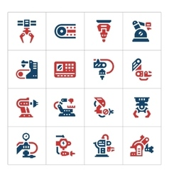 Set color icons of robotic industry vector