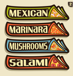 set labels for italian pizza vector image