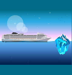 Ship with iceberg on blue background vector