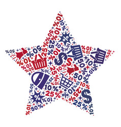 Shopping composition of mosaic 5-finger star icon vector