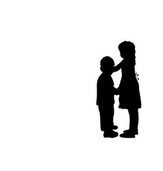 silhouettes girls older sister and boy younger vector image