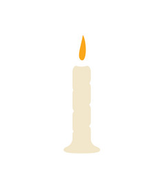 single candle with fire on a white background with vector image