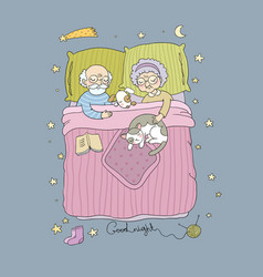 Sleeping girl and cat good night sweet dreams vector