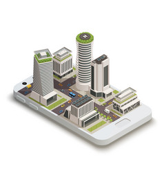 Smart city center isometric composition vector