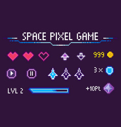 space pixel game hearts 8 bit graphics icons set vector image