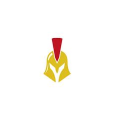 spartan helmet golden logo design icon vector image