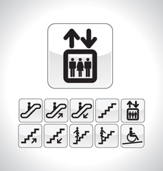 Stairs and elevator directional icons vector