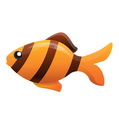 striped gold fish icon cartoon style vector image