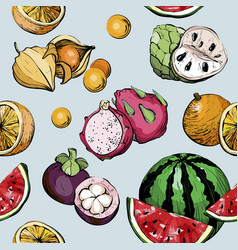 summer seamless pattern with fruit vector image