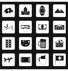 Switzerland icons set simple style vector image