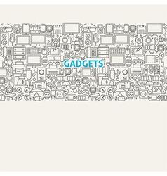 Technology Gadgets Line Art Seamless Web Banner vector image