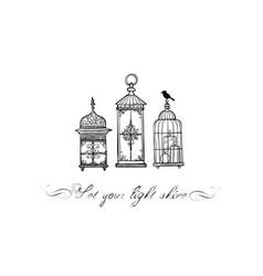 Three vintage rustic lanterns in doodle style vector
