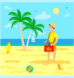 Tourism summer vacation beach and seller with soda vector