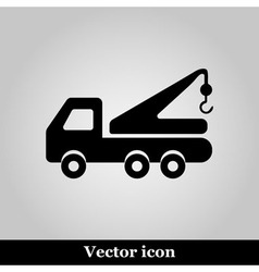 Tow truck line icon on grey background vector
