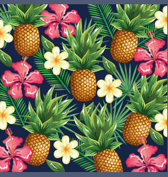 tropical garden with pineapple vector image