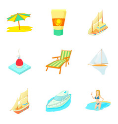 Tropical pleasure icons set cartoon style vector