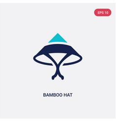 Two color bamboo hat icon from asian concept vector