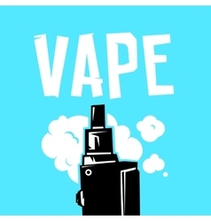 Vape device and smoke on blue vector