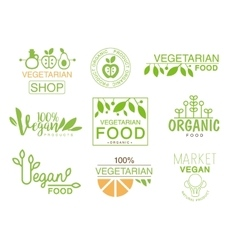Vegan Natural Food Set Of Template Shop Logo Signs vector