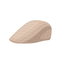 vintage checkered beret cap with visor elegant vector image