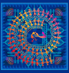 Warli tribal art vector
