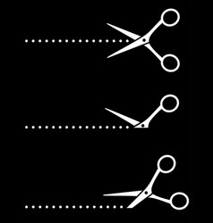 white cutting scissors silhouettes icons and vector image