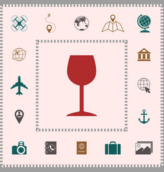 wineglass icon symbol elements for your design vector image
