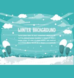 winter snowman background design vector image