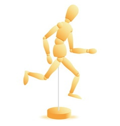 wooden figure run vector image