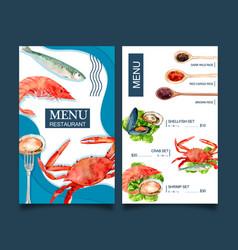 World food day menu design with crab fish shrimp vector