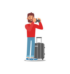 young bearded man standing with luggage tourist vector image