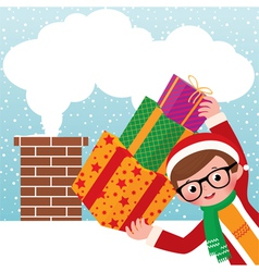 Young Santa Claus with gifts vector image