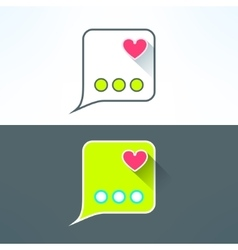 simple chat icon with heart in modern flat vector image