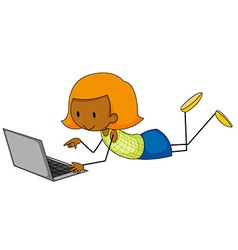 Girl and computer vector image vector image