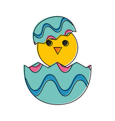 little chicken in egg vector image