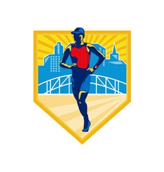 Triathlete Marathon Runner Retro vector image vector image