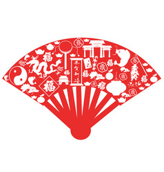 chinese new year fan vector image vector image