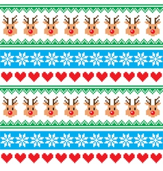 Christmas pattern with reindeer pattern vector image