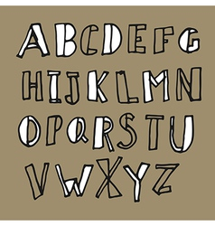 hand drawn doodles alphabet vector image vector image